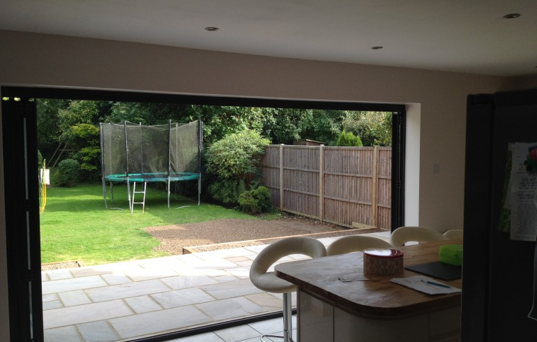 Completed extension, porch and patio in Horley.